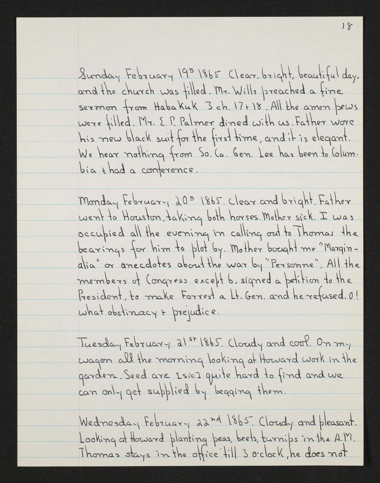 Lewis H. Machen Family Papers: Diaries and Diary Transcriptions, 1860-1865; Diaries; Gresham, LeRoy Wiley; Transcriptions; 1865