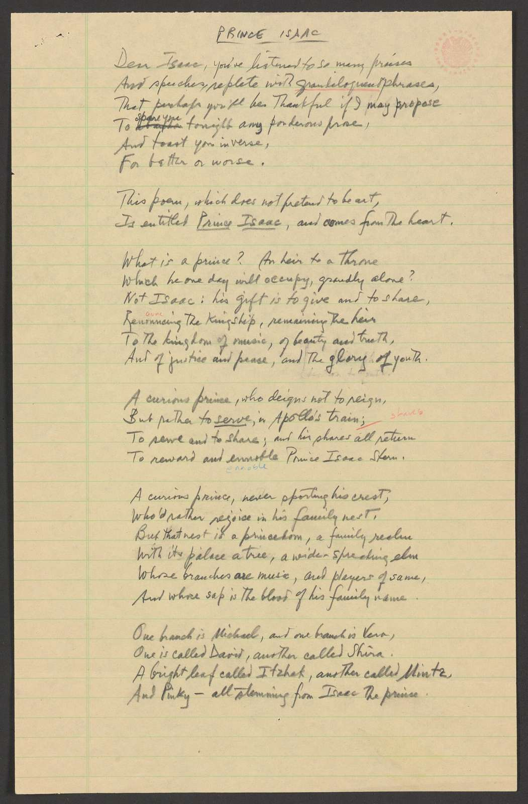 Prince Isaac poem, for Isaac Stern's 60th birthday, 1980 Dec. 3