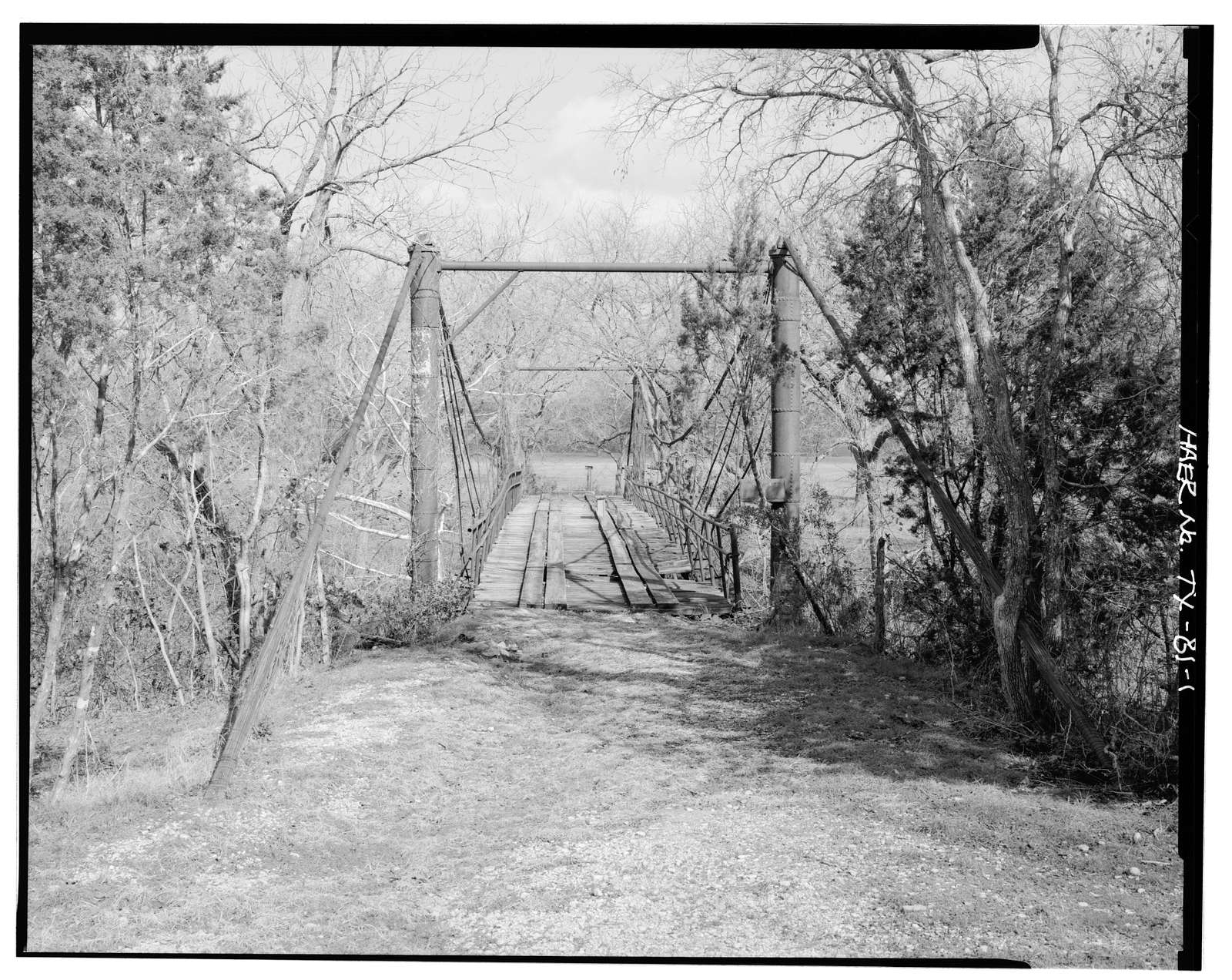 Rock Church Suspension Bridge, Spanning Paluxy River, Tolar, Hood County, TX