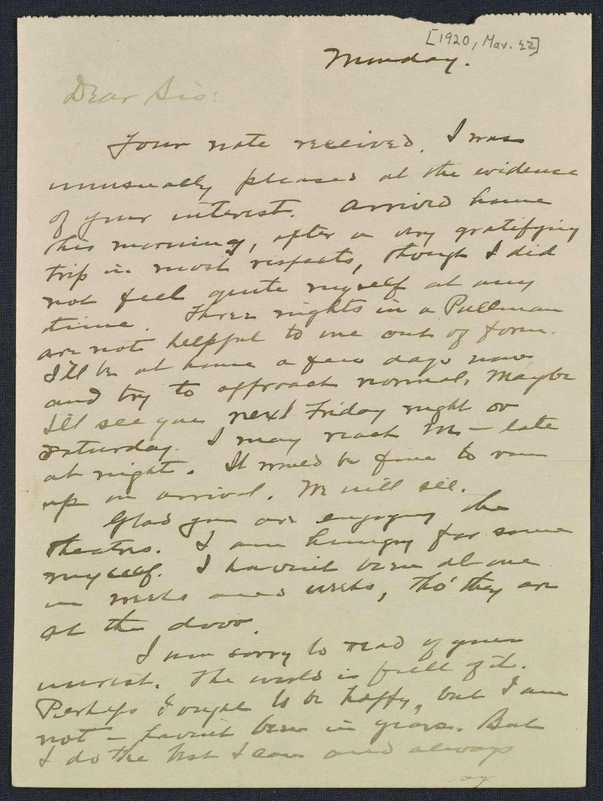 Warren G. Harding-Carrie Fulton Phillips Correspondence: Correspondence and drafts of correspondence; 1920