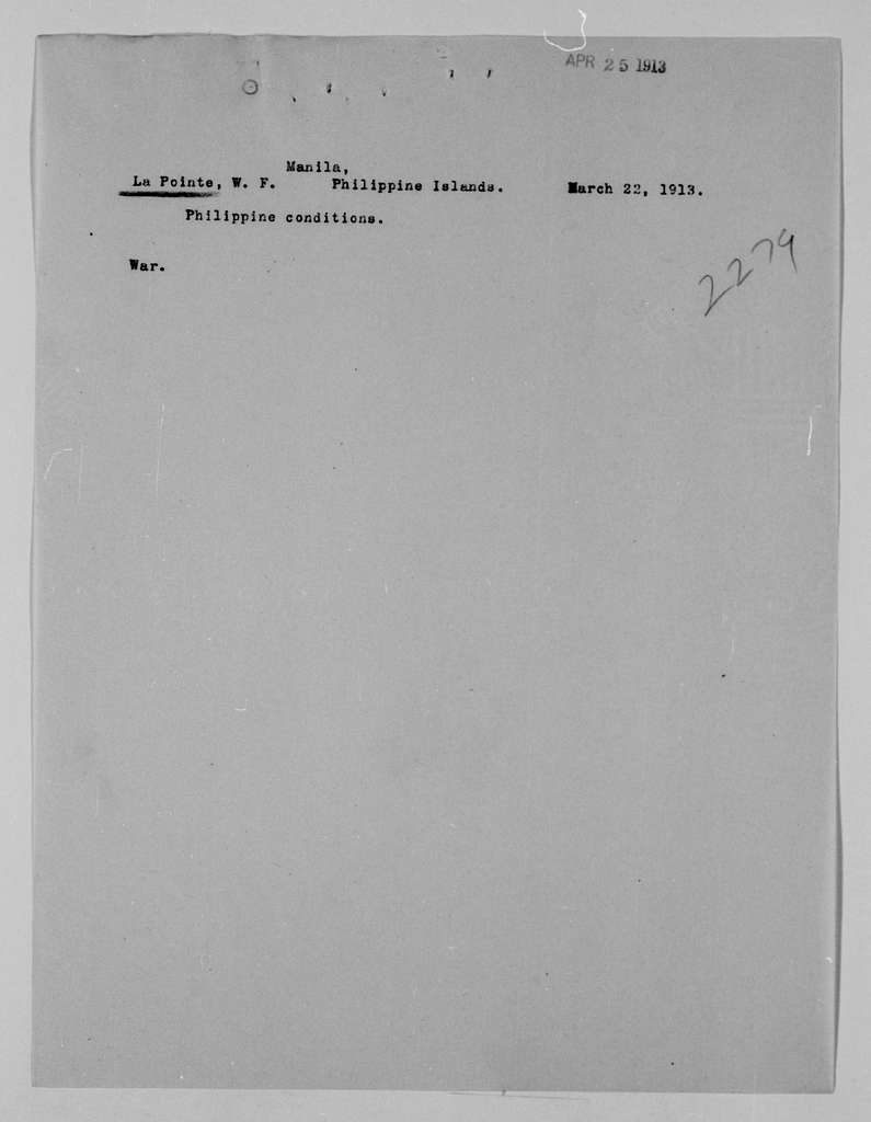 Woodrow Wilson Papers: Series 4: Executive Office File, 1912-1921; 2279