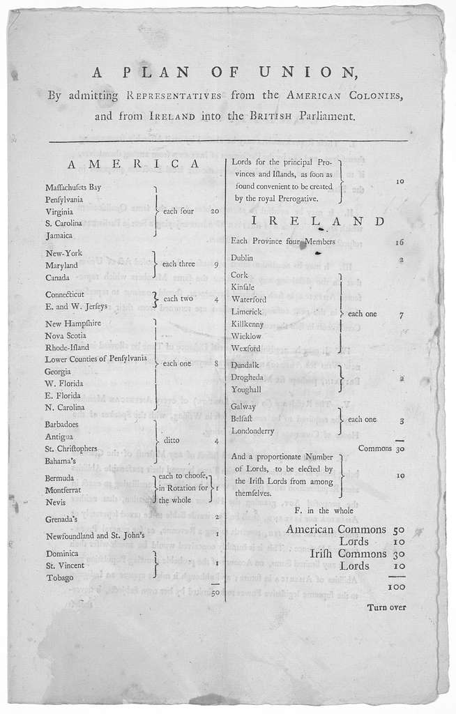 A plan of union, by admitting representatives from the American colonies and from Ireland into the British Parliament ... 10th December, 1770.
