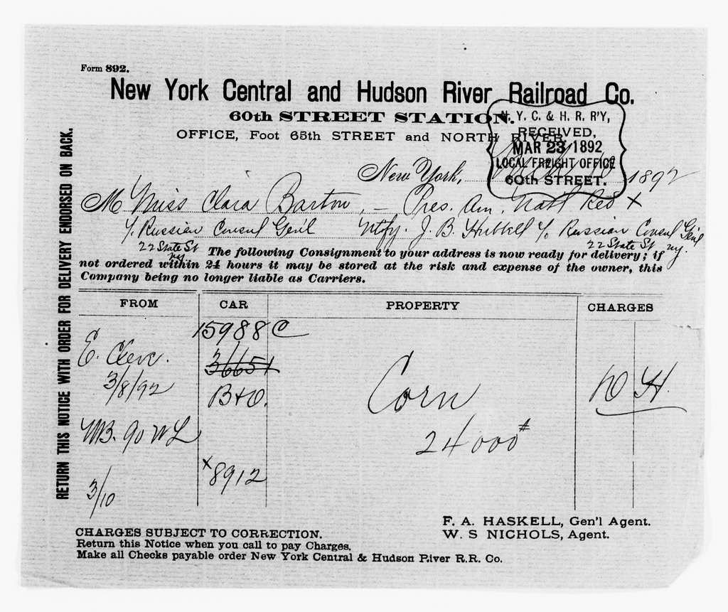 Clara Barton Papers: Red Cross File, 1863-1957; American National Red Cross, 1878-1957; Relief operations; Russia; Accounts and receipts, 1891-1892