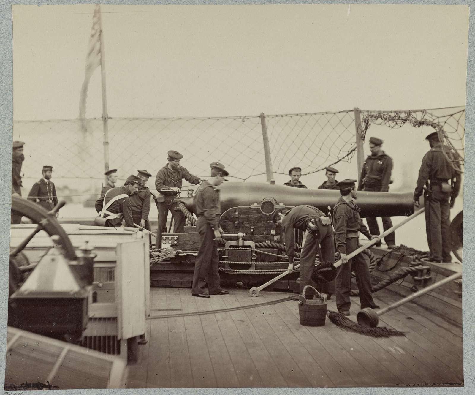 Gun crew on deck of U.S.S. Miami, [i.e. Mendota] James River, Va.