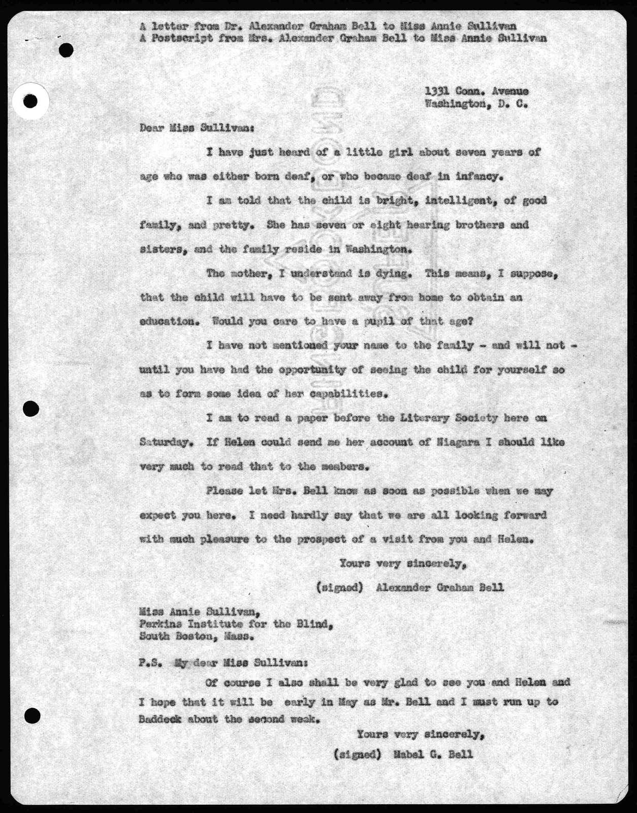 Letter from Alexander Graham Bell to Annie Sullivan, undated