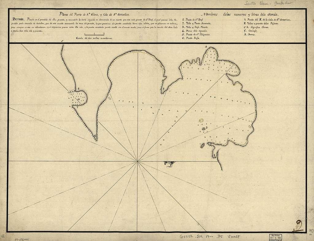 Plano del Puerto de Sta. Elena y Cala de Sn. Sevastian.