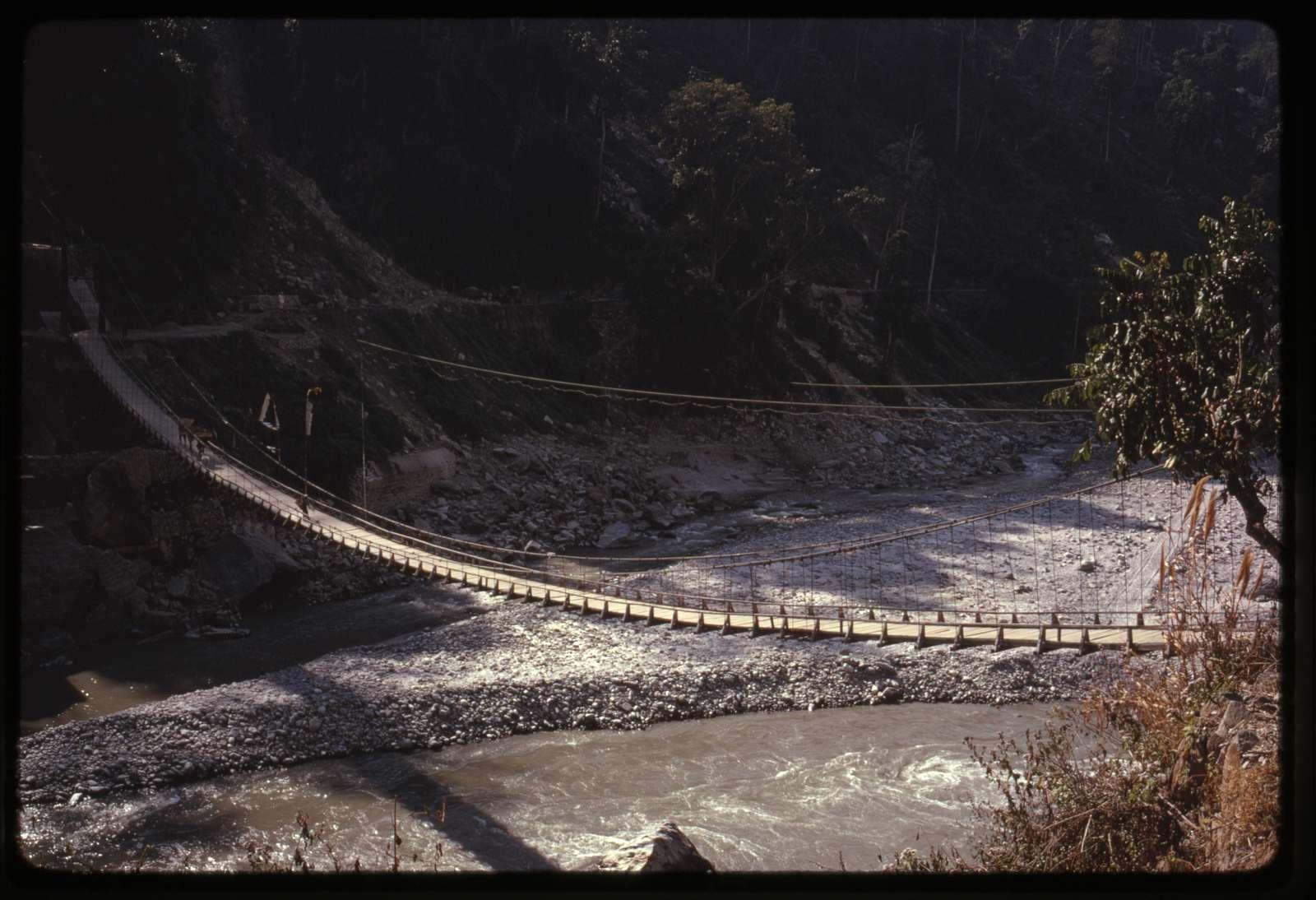 [Suspension bridge over river, Sikkim]