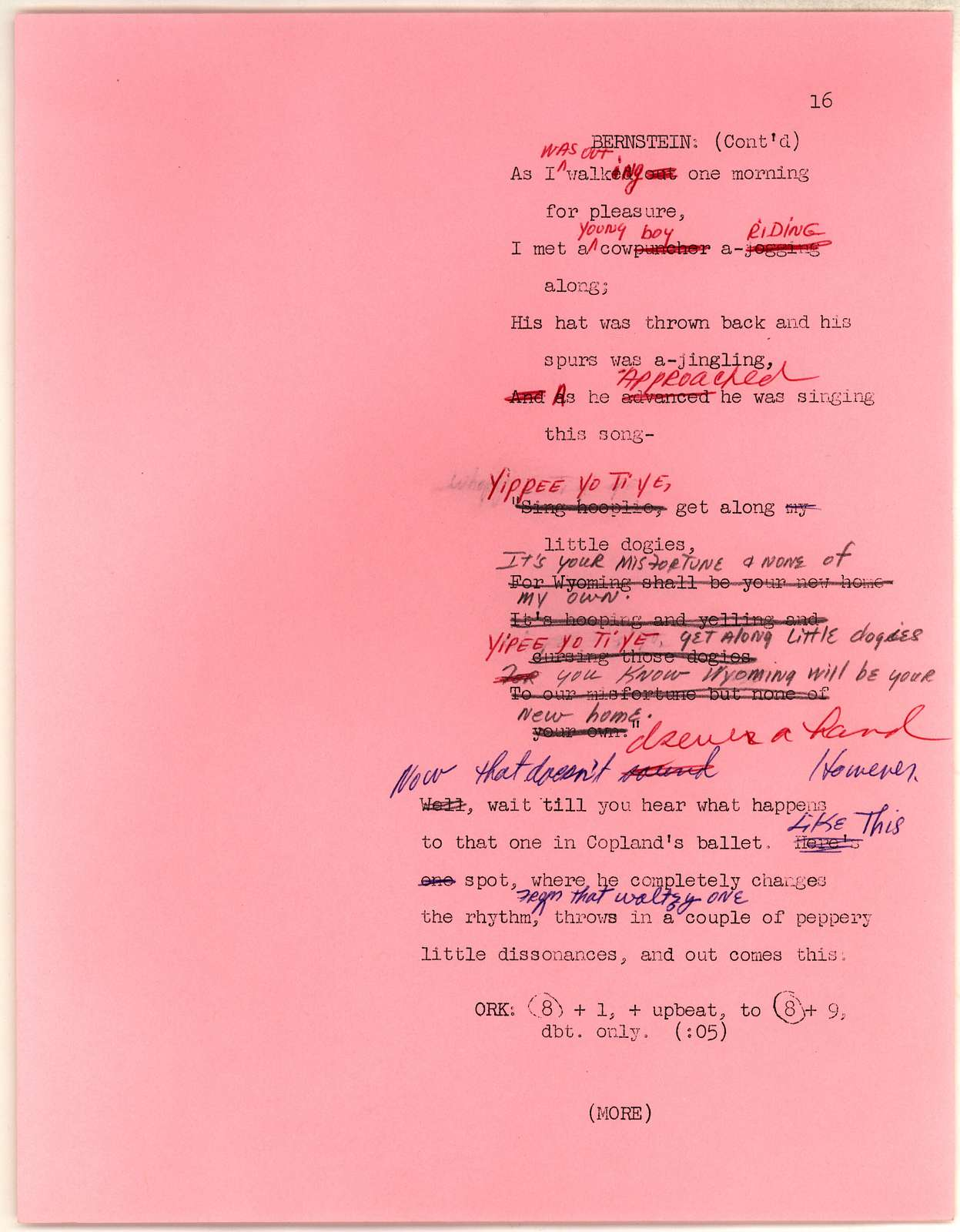 Young People's Concerts Scripts: A Copland Celebration typescript on pink paper with emendations in colored pencils & ink,page 20 is mimeo