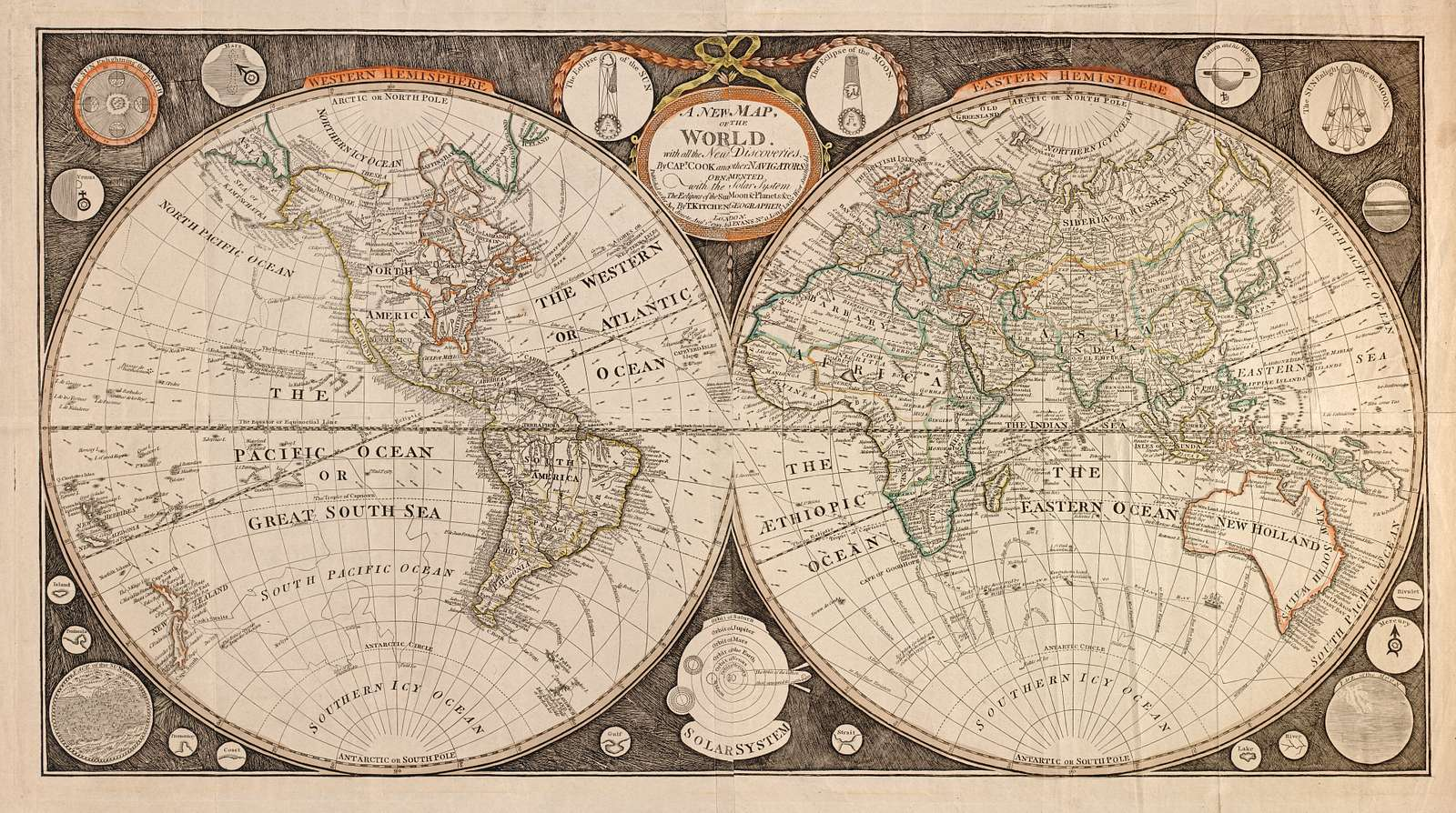 A new map of the world : with all the new discoveries by Capt. Cook and other navigators : ornamented with the Solar System, the eclipses of the sun, moon & planets &c. /