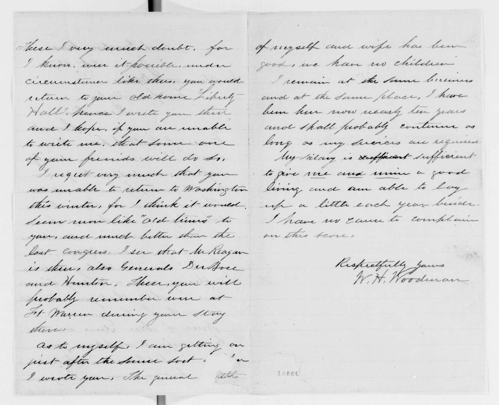 Alexander Hamilton Stephens Papers: General Correspondence, 1784-1886; 1875, Nov. 11-1876, Jan. 21