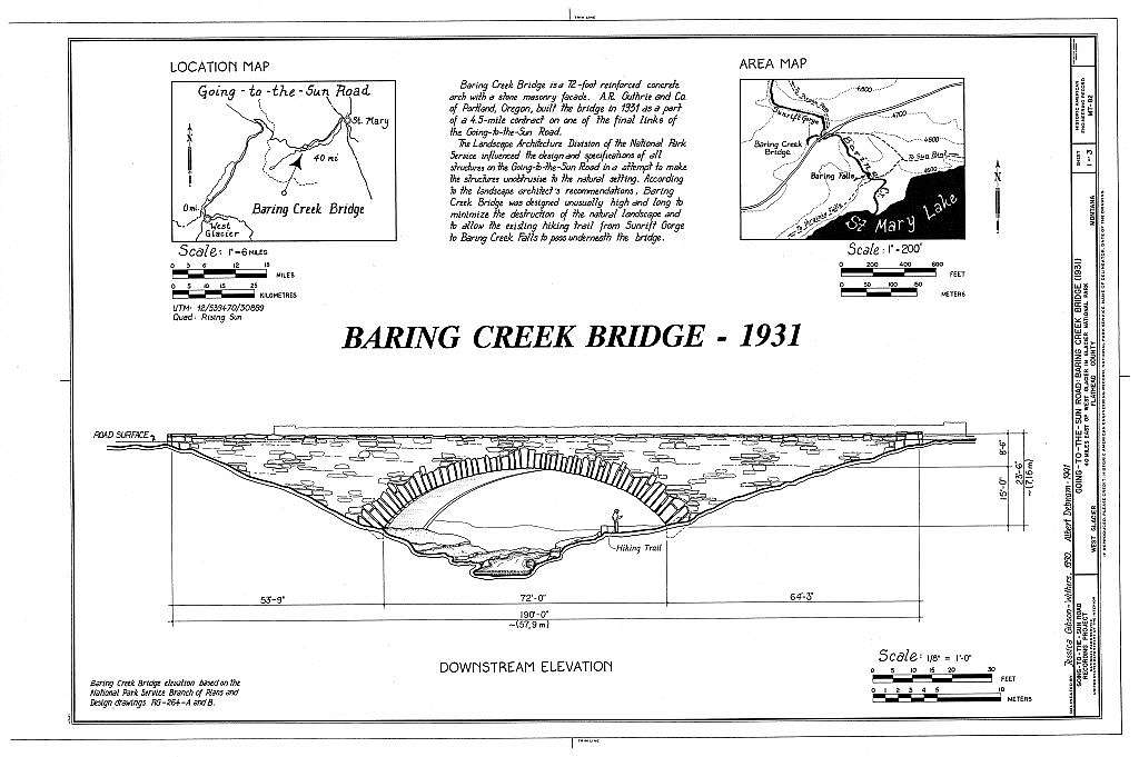 Baring Creek Bridge, Spanning Baring Creek at Going-to-the-Sun Road, West Glacier, Flathead County, MT