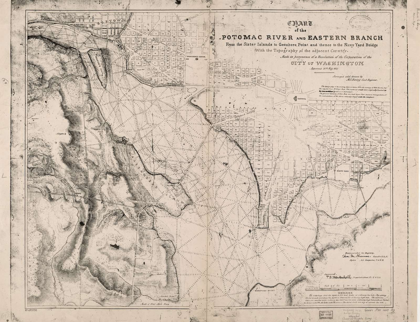 Chart of the Potomac River and Eastern Branch from the Sister Islands to Geesboro Point and thence to the Navy Yard Bridge : with the topography of the adjacent country : made in pursuance of a resolution of the Corporation of the City of Washington, approved 26th May 1837 /
