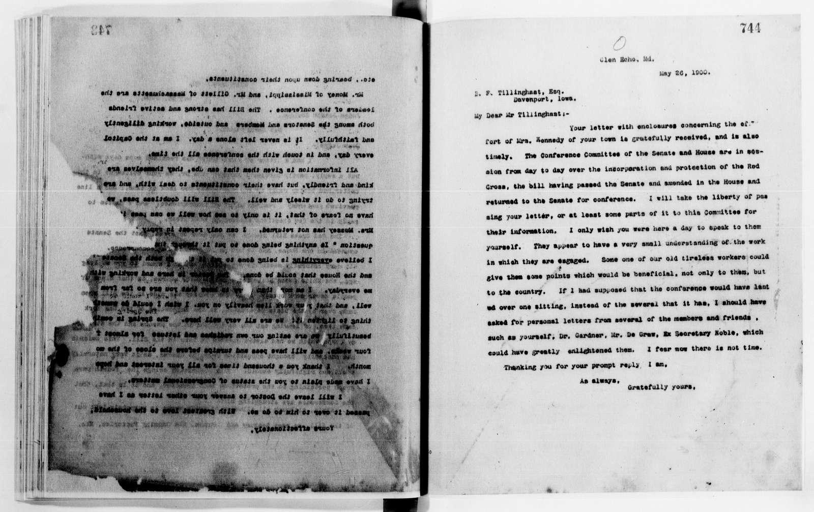 Clara Barton Papers: Letterbooks, 1876-1911; 1899, Mar.-1902, Nov.; pp. 443-1001