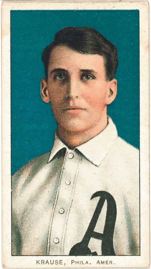 [Harry Krause, Philadelphia Athletics, baseball card portrait]
