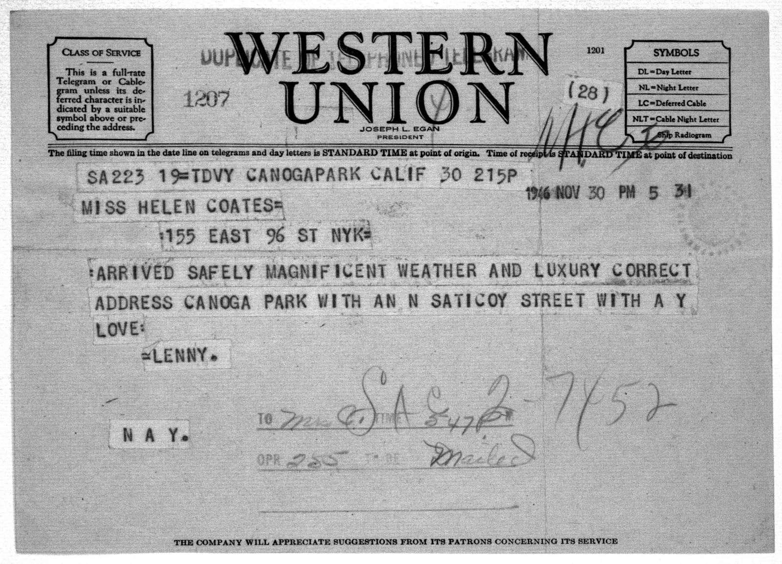 Letter from Leonard Bernstein to Helen Coates, November 30, 1946