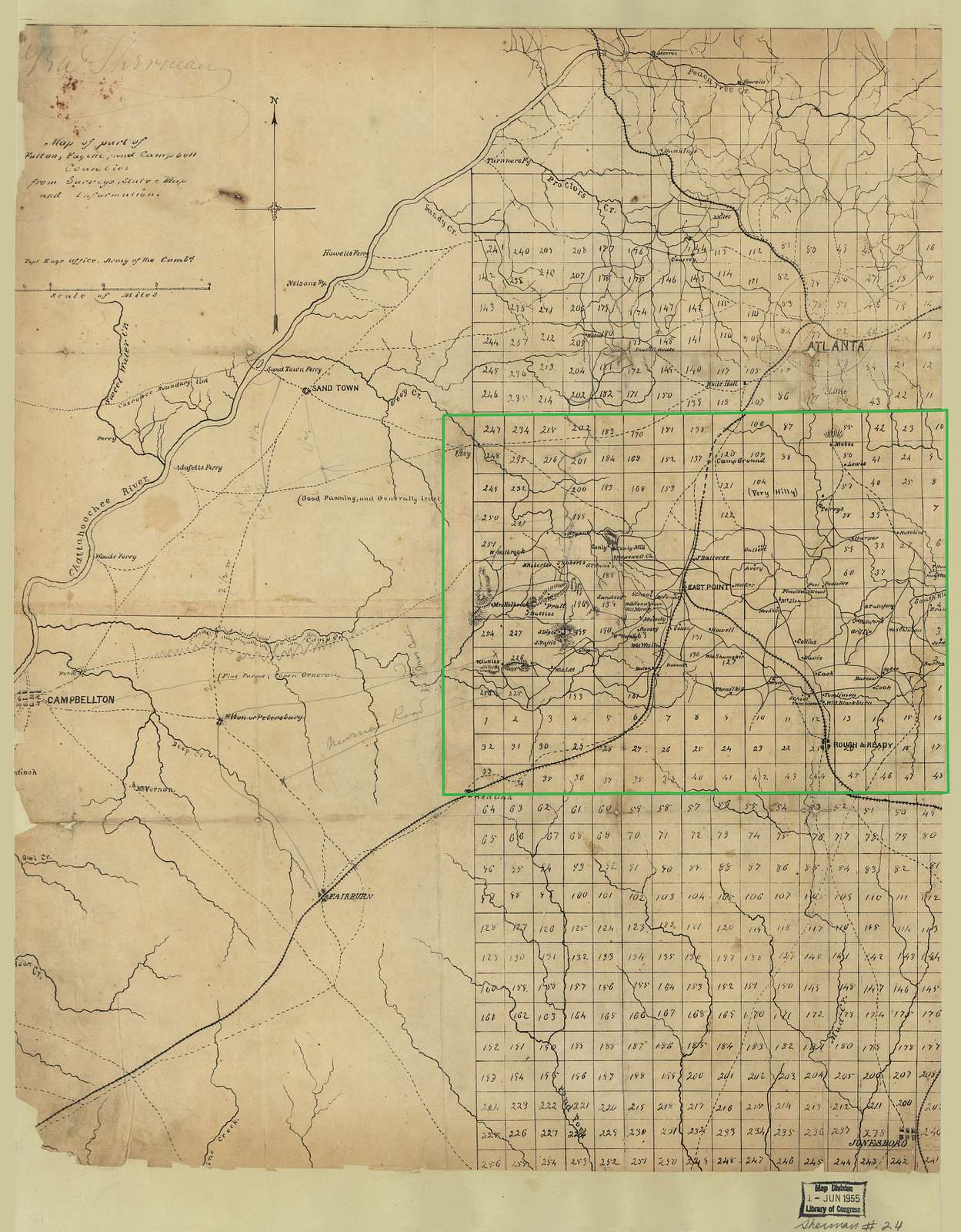 Map of part of Fulton, Fayette, and Campbell counties, from surveys, state map, and information /