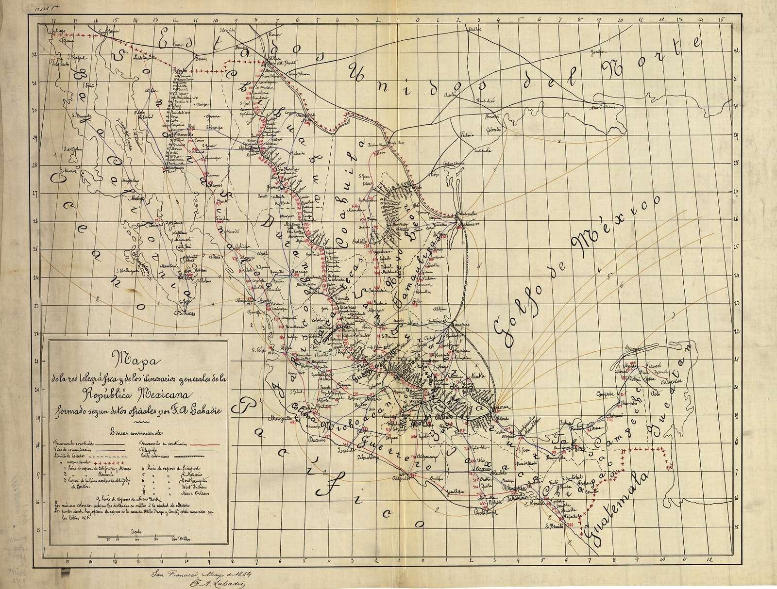 Mapa de la red telegráfica y de los itinerarios generales de la República Mexicana : formado segun datos officiales /