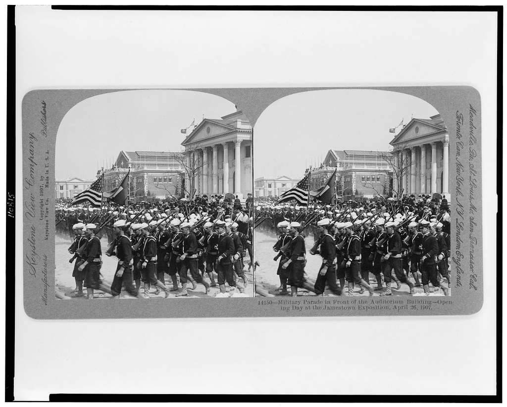Military parade in front of the auditorium building--opening day at the Jamestown Exposition, April 26, 1907