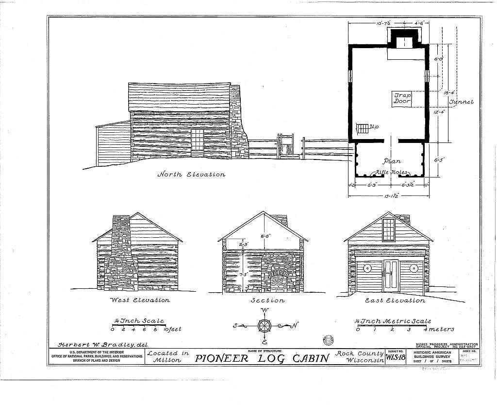 Pioneer Log Cabin, Public Square Vicinity, Milton, Rock County, WI