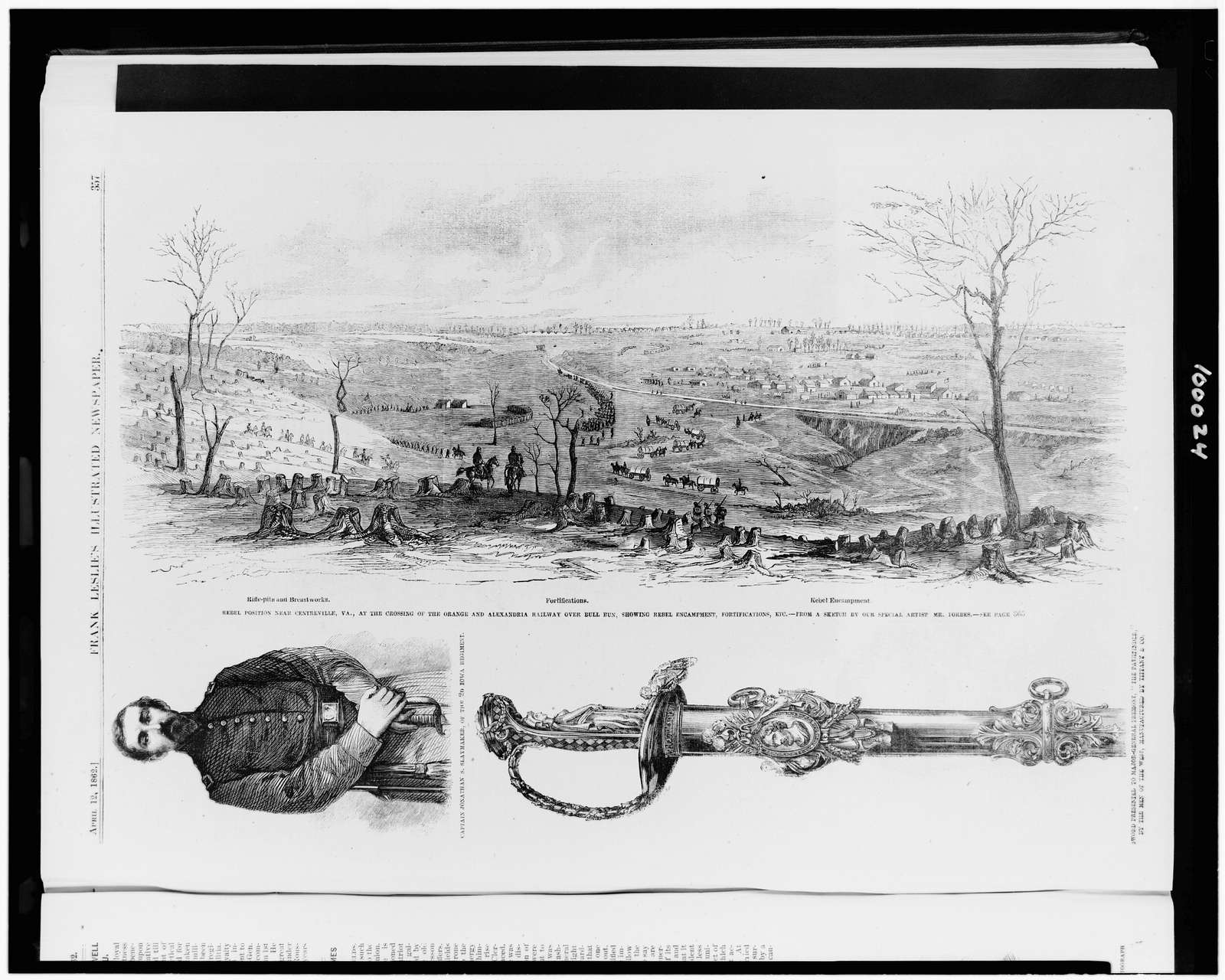 "Rebel position near Centreville, Va., at the crossing of the Orange and Alexandria Railway over Bull Run, showing rebel encampment, fortifications, etc. / from a sketch by our special artist Mr. Forbes.  Captain Jonathan S. Slaymaker, of the 2d Iowa regiment ...  Sword presented to Major-General Fremont, ""the pathfinder,"" by the men of the West, manufactured by Tiffany & Co."