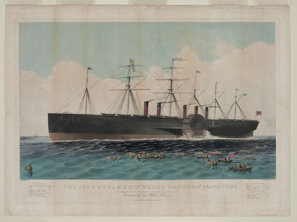 """The iron steam ship """"Great Eastern"""" 22,500 tons: constructed under the direction of I.K. Brunel, F.R.S. -- D.C.L. commanded by Capt. William Harrison"""