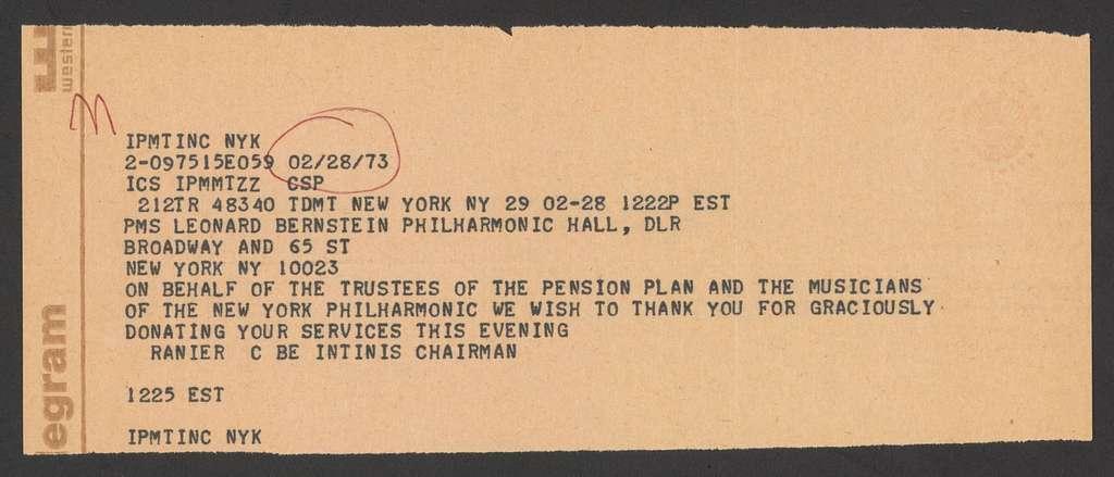 The Philharmonic-Symphony Society of New York to Leonard Bernstein, September 29, 1966