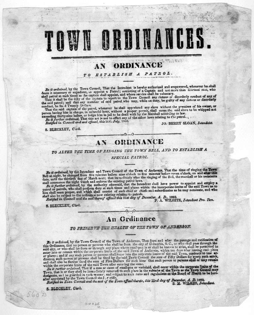 Town ordinances. An ordinance to establish a patrol ... An ordinance to alter the time of ringing the town bell, and to establish a special patrol ... An ordinance to preserve the health of the town of Anderson ... 1860.