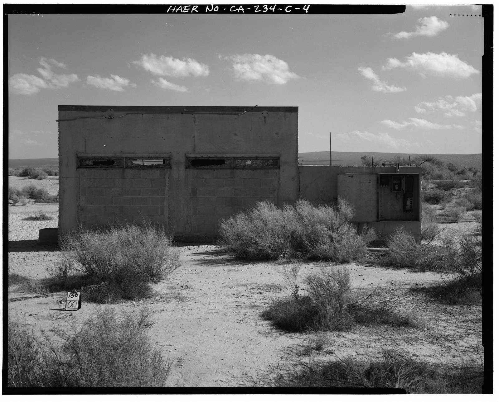 "Edwards Air Force Base, South Base Sled Track, Observation Block House, Station ""O"" area, east end of Sled Track, Lancaster, Los Angeles County, CA"