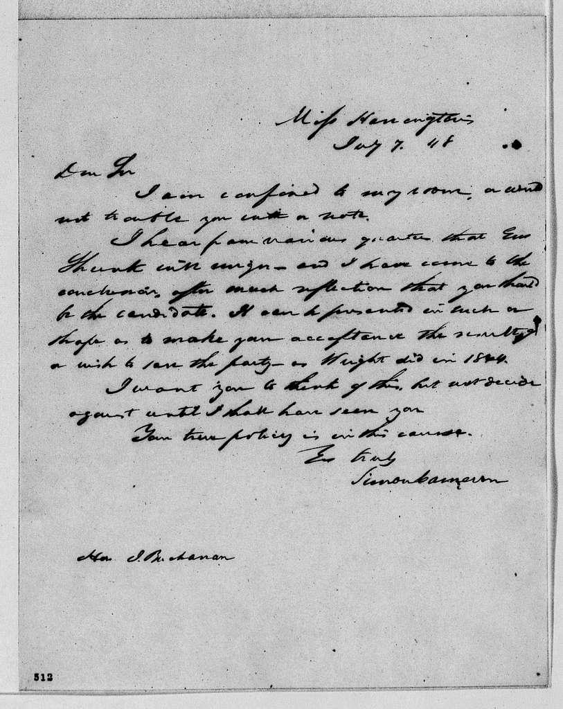 James Buchanan and Harriet Lane Johnston Papers: Series I: James Buchanan Papers, 1825-1868; 1848, May 18-1849, Feb. 12