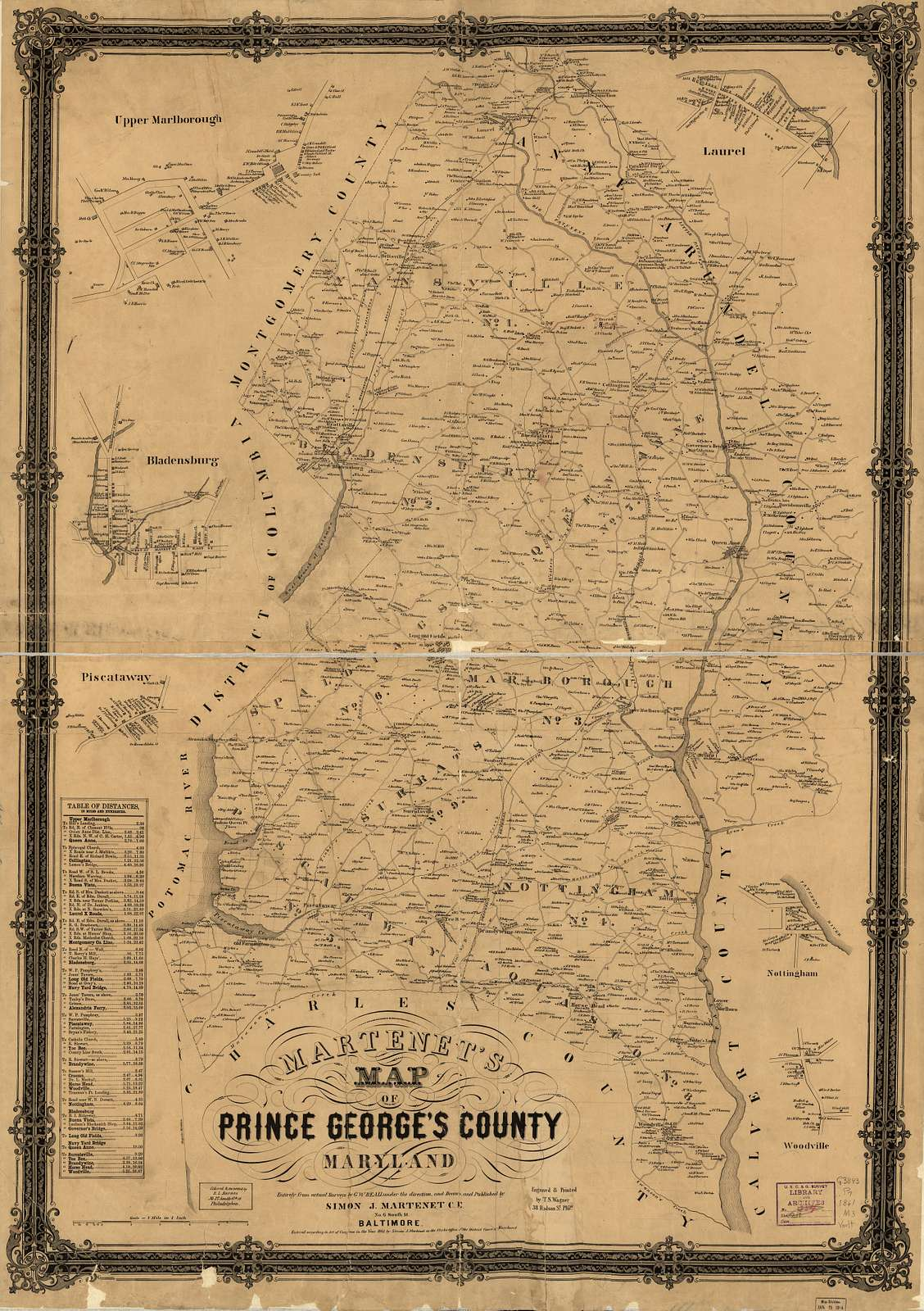 Martenet's Map of Prince George's County, Maryland.