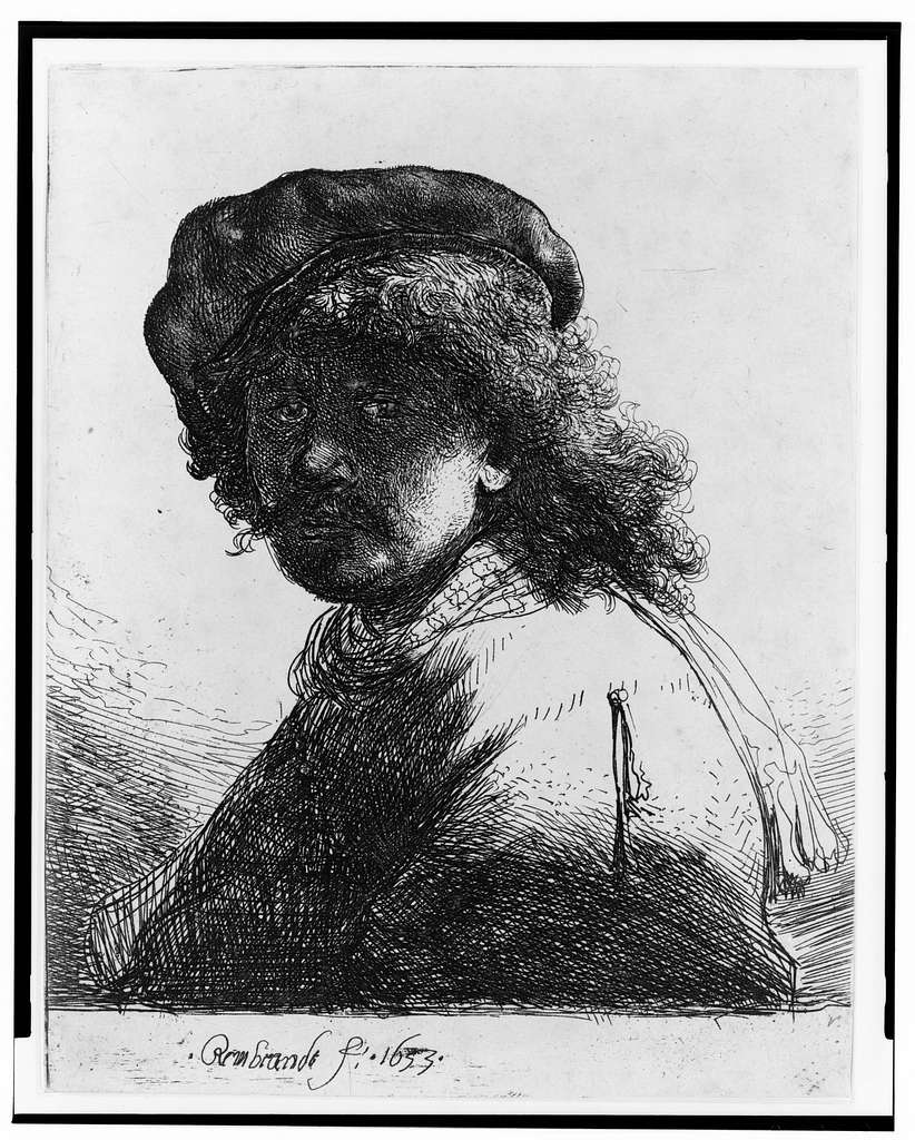 [Rembrandt in cap and scarf, dark face, bust] / Rembrandt, f. 1633.