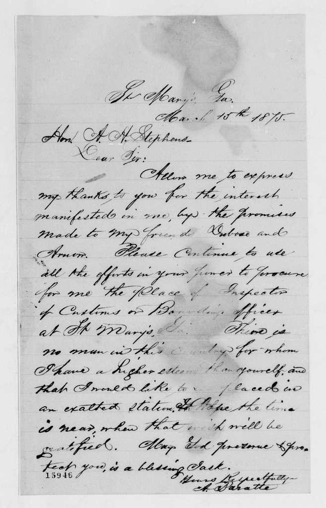 Alexander Hamilton Stephens Papers: General Correspondence, 1784-1886; 1875, Mar. 13-May 6