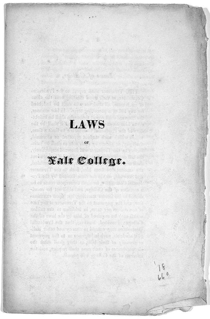 Laws of Yale College 1823. [New Haven, Conn.?].