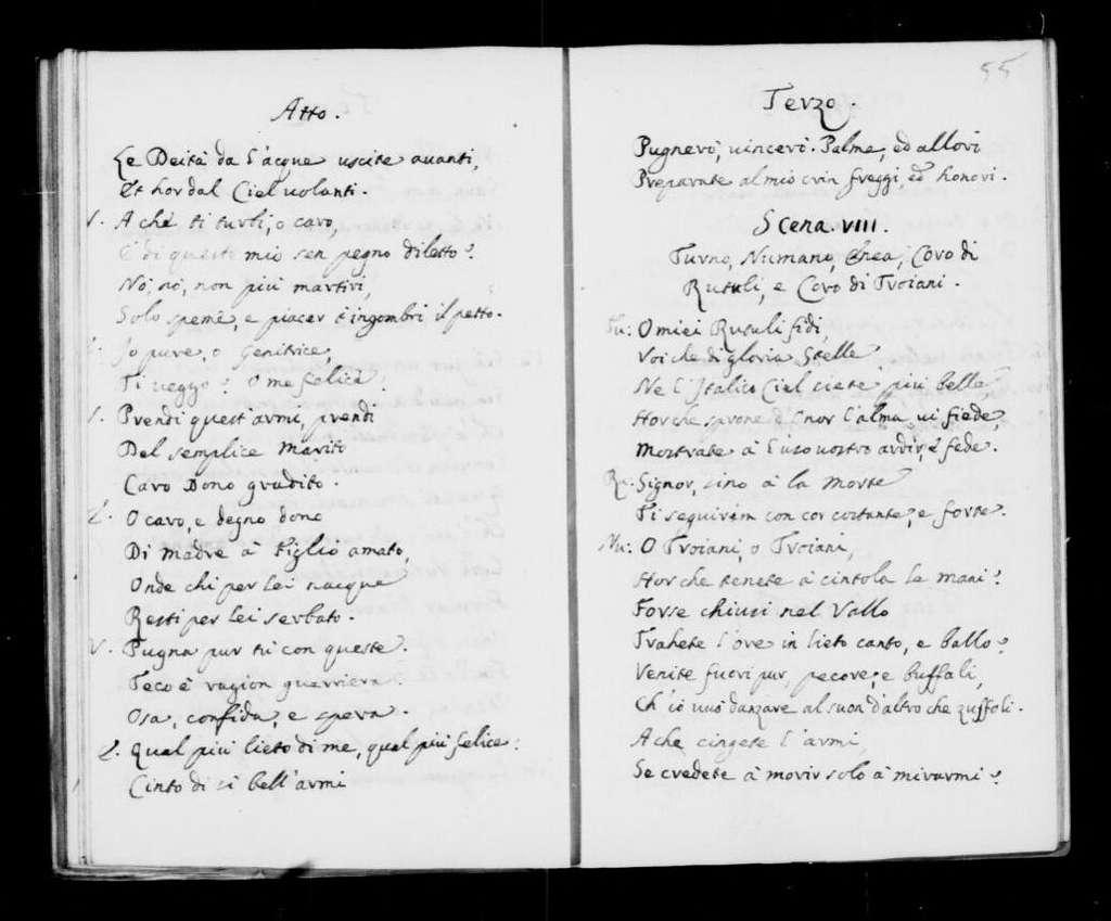 Nozze d'Enea con Lavinia. Libretto. Italian