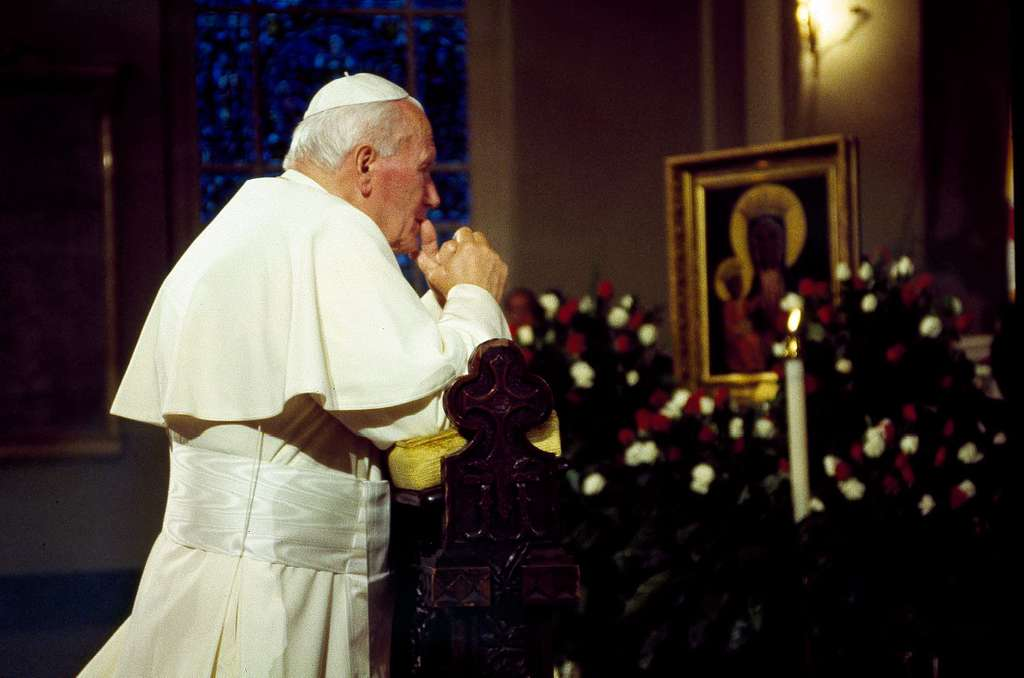 Pope John Paul II during a visit to the Baltimore Basilica in the 1990s.  Baltimore, Maryland - PICRYL Public Domain Image