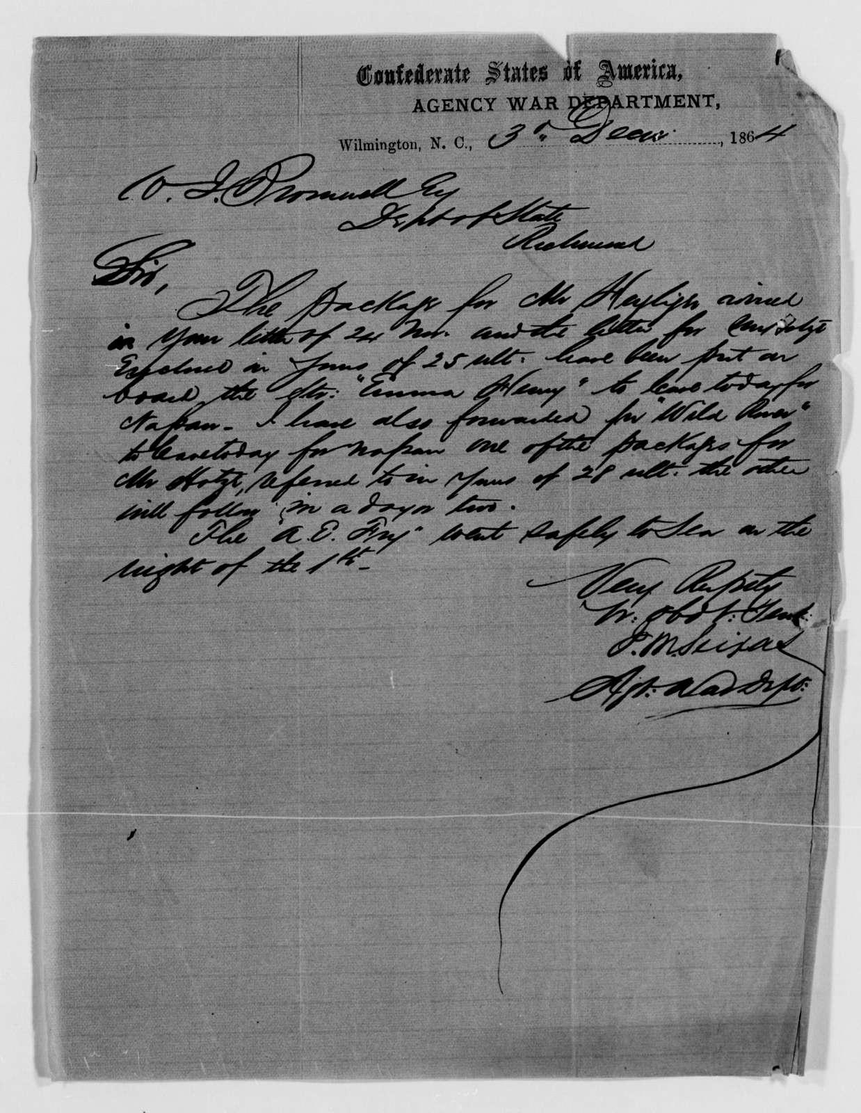 Confederate States of America records: Microfilm Reel 15