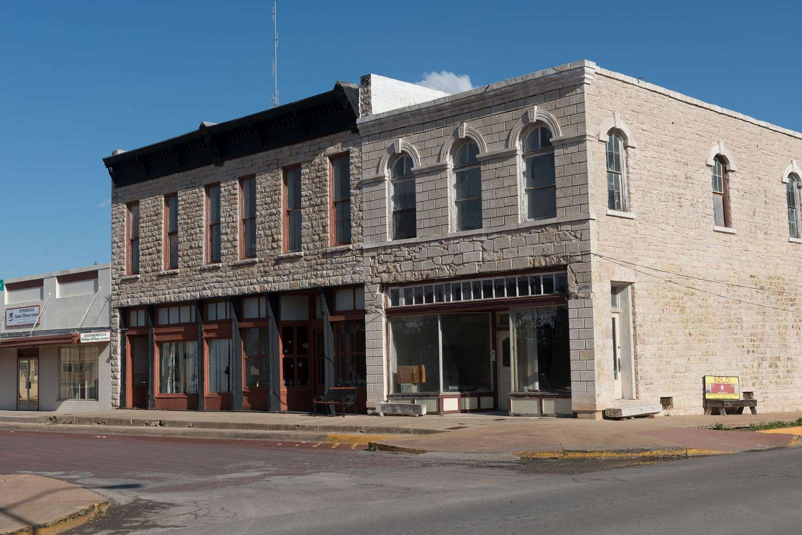 Downtown block in Stephenville, the county seat of Erath County, Texas