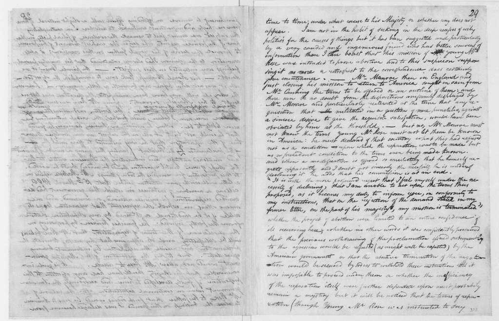 George Joy. Notes - Henry Lee 1808, regarding the embargo and war. 1812.