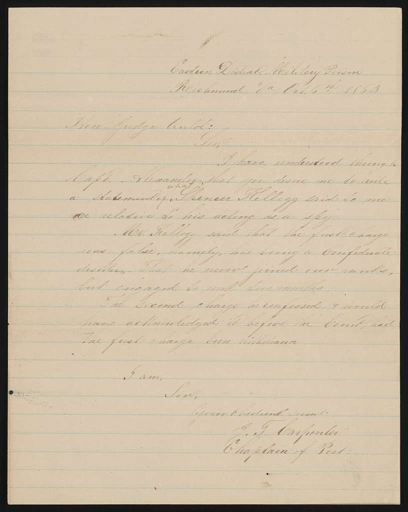 Letter to Honorable Judge Ould from J. T. Carpenter, October 6, 1863.