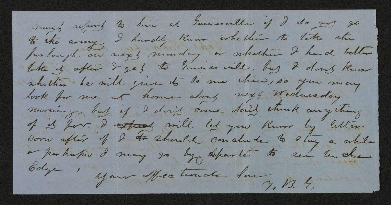 Lewis H. Machen Family Papers: Gresham Family Correspondence, 1834-1925; 1864-1865