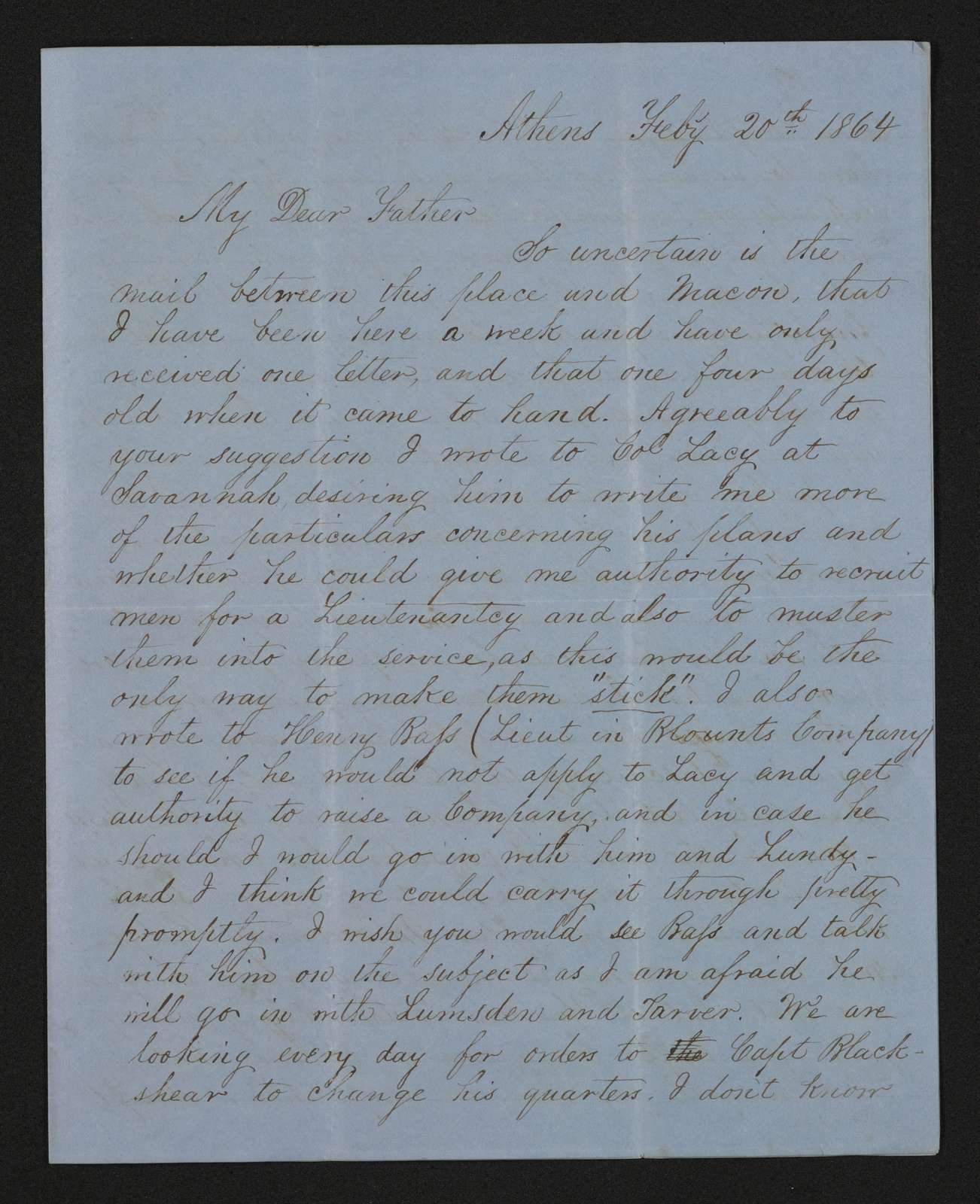 Lewis H. Machen Family Papers: Gresham Family Correspondence, 1834-1925; 1864-1865