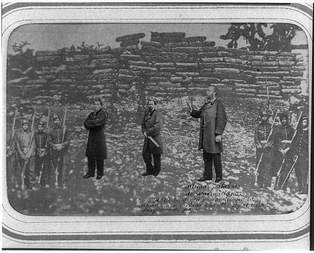 [Portraits of Emperor Maximilian of Mexico, Tomás Mejía, and Miguel Miramón and firing squad, superimposed on photograph of their place of execution, at Querétaro]