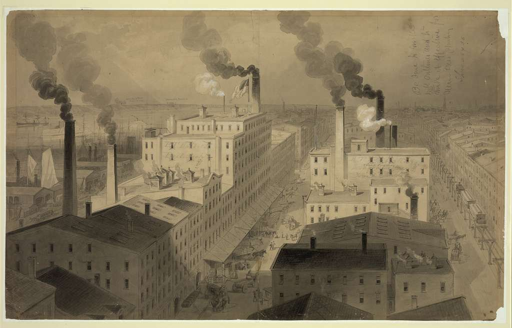 "[View of B.T. Babbitt's ""best soap"" factory buildings, New York City] / J.A. Shearman."
