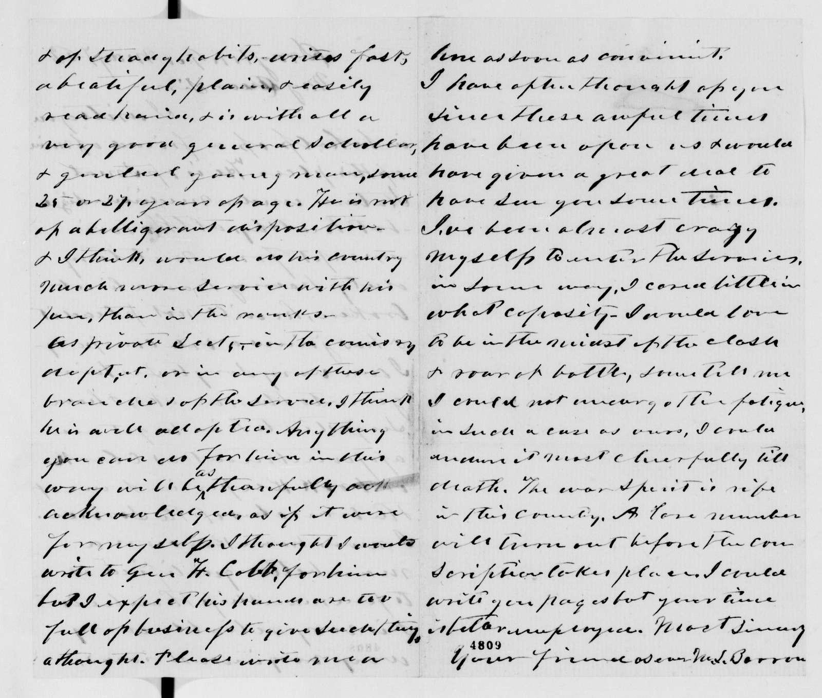 Alexander Hamilton Stephens Papers: General Correspondence, 1784-1886; 1862, Apr. 30-June 18
