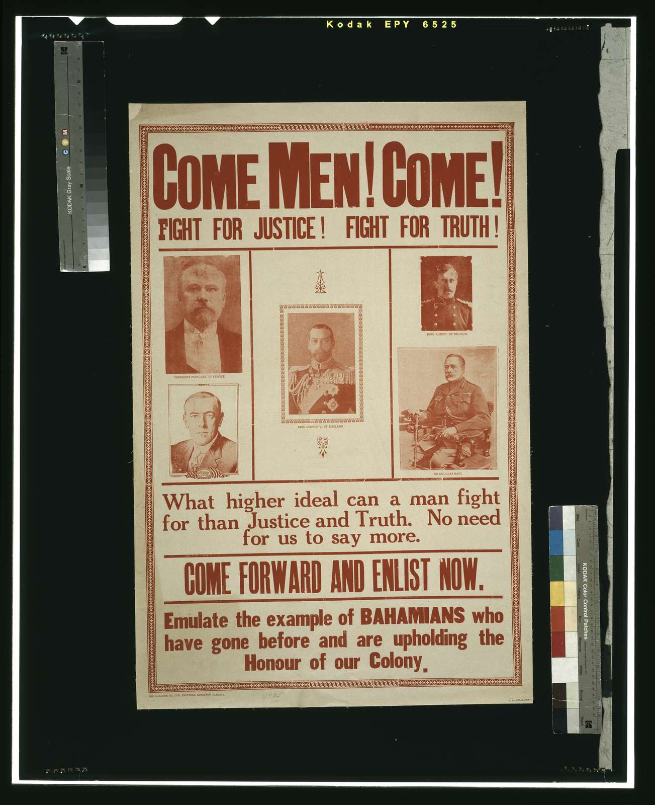 Come men! Come! Fight for justice! ... Emulate the example of Bahamians who have gone before and are upholding the honour of our colony / The Gleaner Co., Ltd., Printers, Kingston, Jamaica.