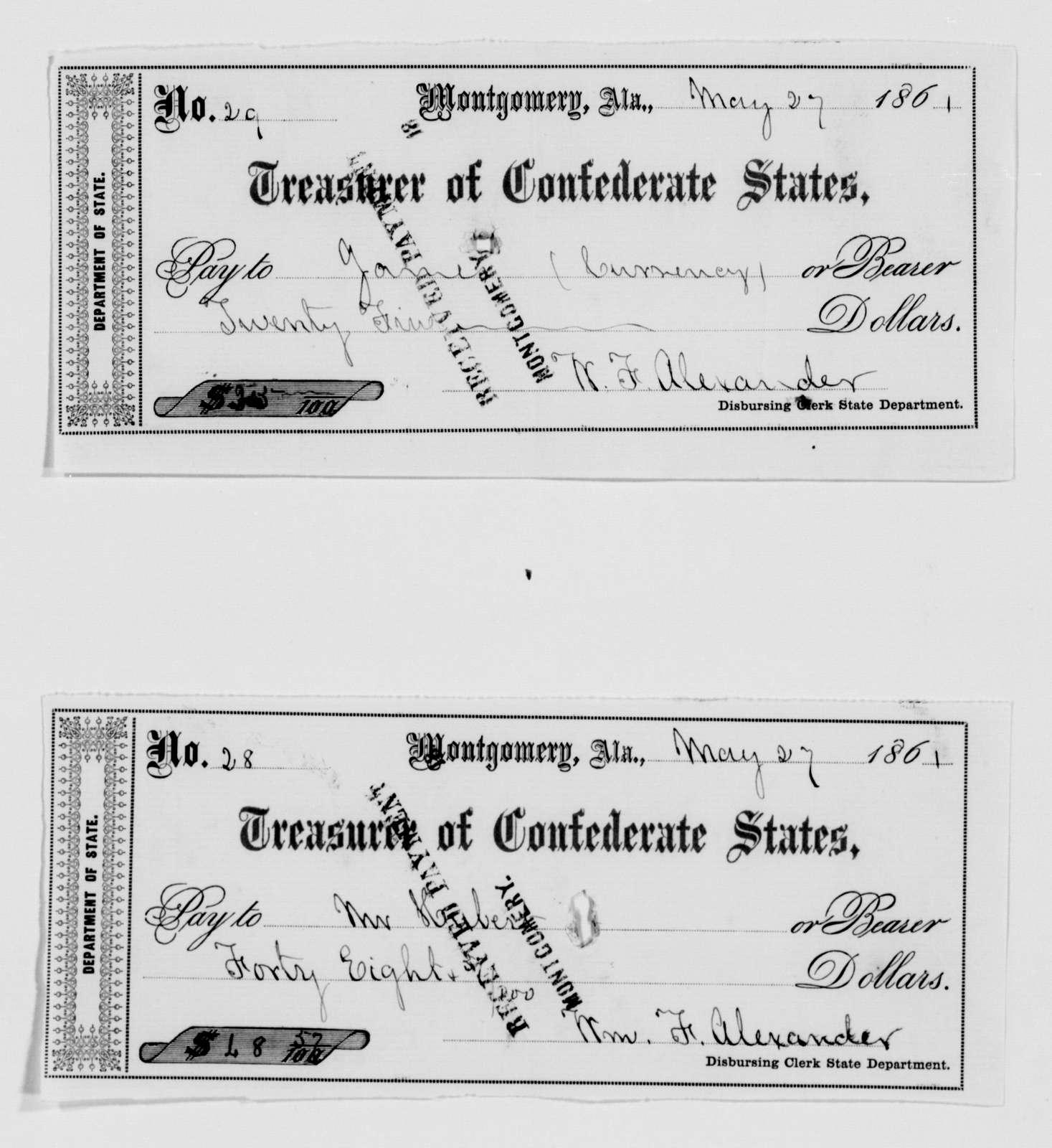 Confederate States of America records: Microfilm Reel 18