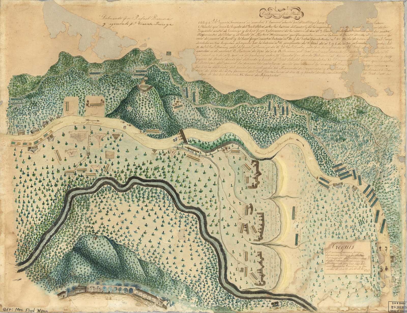 Croquis del terro, camino, bosques, barrancas, cerro y beredas de Cerro-gordo con las posiciones de las topas Mejicanas y Americanas con sus respectivos Generales Cuerpos y Baterias el dis 18 de Abril de 1847.