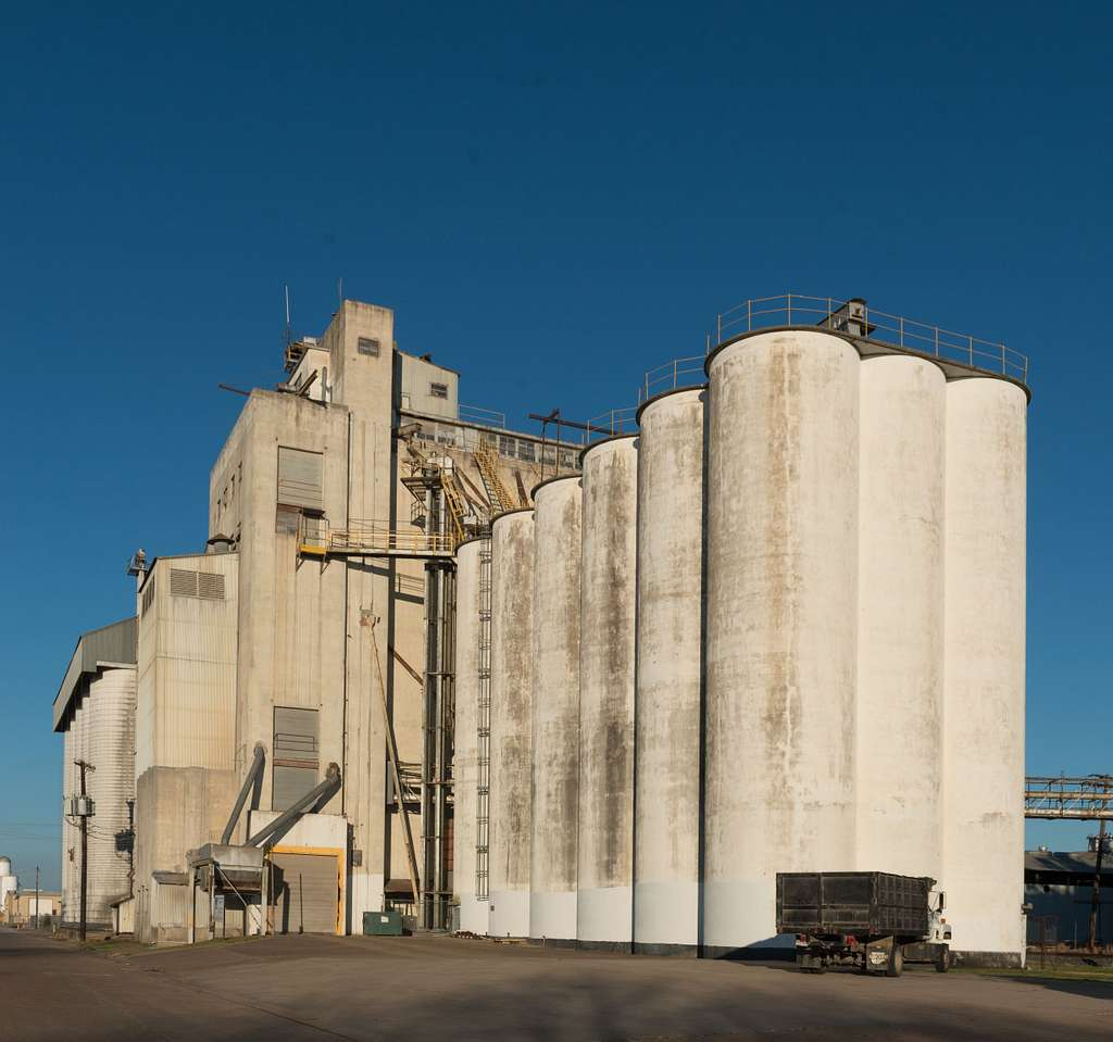 Grain elevator at a rice plant in El Campo, a town in Wharton County in the Mid-Gulf region of Texas