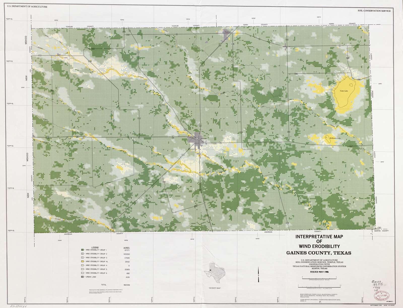 Interpretative map of wind erodibility. Gaines County, Texas /