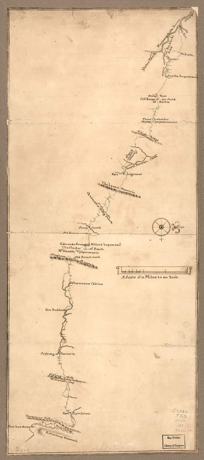 Map of a route through south west Pennsylvania from Fort Loudon, Franklin Co. to Fort Pitt, Pittsburgh.